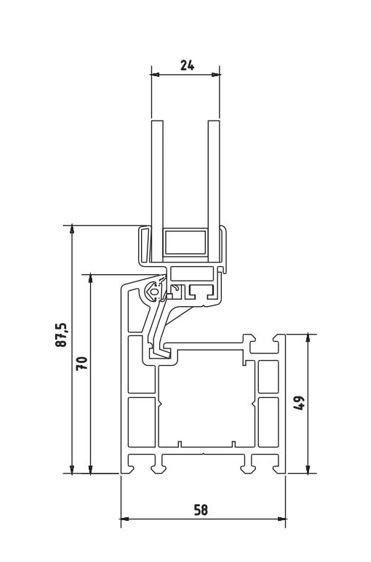 Technische Zeichnung des Kipp-Kellerfensters KOMPAKT