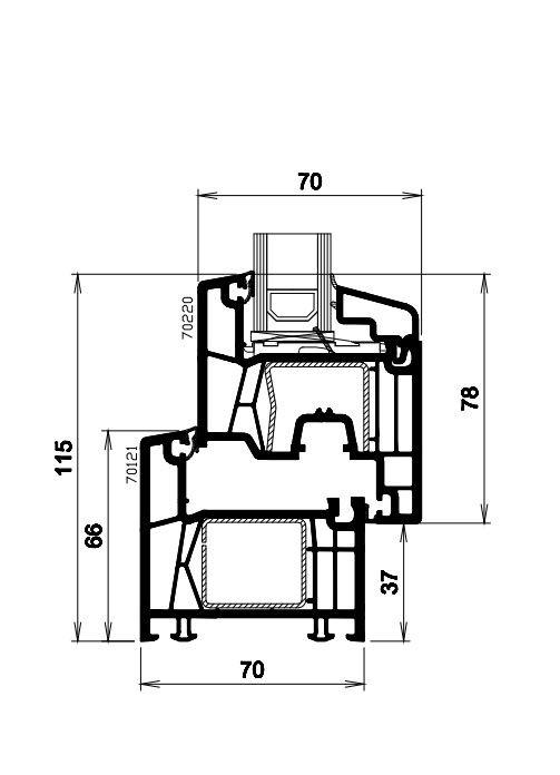 Technische Zeichnung des Dreh-Kippfensters Profil 570
